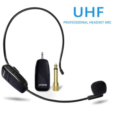 """Wireless Microphone Headset, UHF Wireless Headset Mic System, 160ft Range, Headset Mic and Handheld Mic 2 in 1, 1/8""""&1/4"""" Plug, for Speakers, Voice Amplifier, PA System-Not Supported Phone, Laptop"""