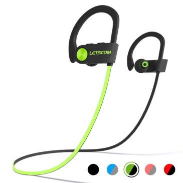 LETSCOM Bluetooth Headphones, IPX7 Wireless Sport Earphones, HiFi Bass Stereo Earbuds w/Mic, Noise Cancelling Headset for Workout, Running, Gym, 8 Hours Play Time