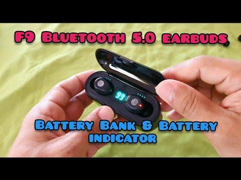 F9 TWS Bluetooth 5.0 Wireless headphones LED display with 2000 mah battery bank (true wireless)